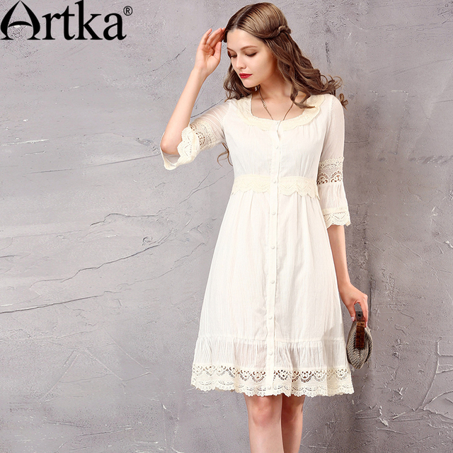 Artka Women's Summer New White Lace Patchwork Cotton Dress Vintage O-Neck Puff Sleeve Empire Waist All-match Dress LA10660C