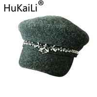 Spring Knitting Beret Han Edition White Blue Diamond Octagonal Cap Hat To Shade