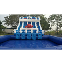 Commercial Giant Inflatable Water Slide With Pool For Kids and Adults