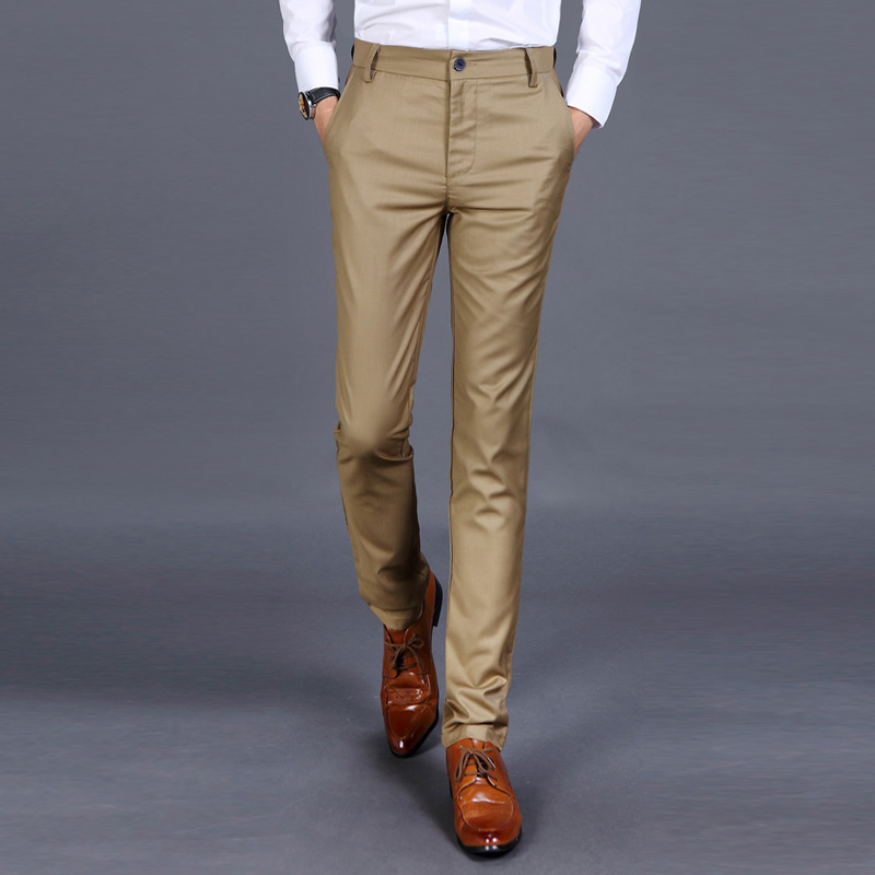 0975fdb7f09 New 2019 High quality Goods Cotton Men Pure Color Formal Business Suit Pants    Superior Quality Male Leisure Suit Pants Trousers-in Suit Pants from Men s  ...