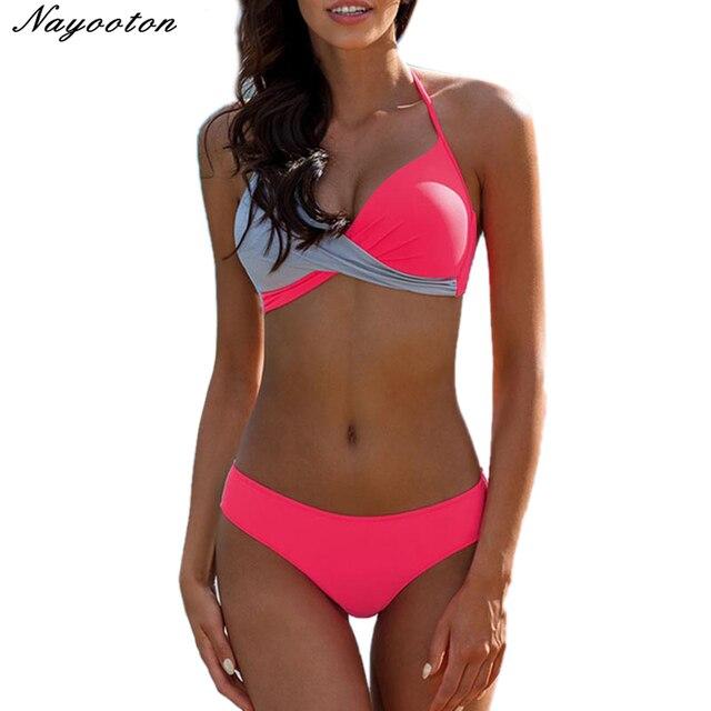 60390658fd6d Sexy Brazilian Bikini 2019 Push Up bikinis set women swimsuit solid  patchwork Biquini swimwear Beachwear Female Bathing Suit