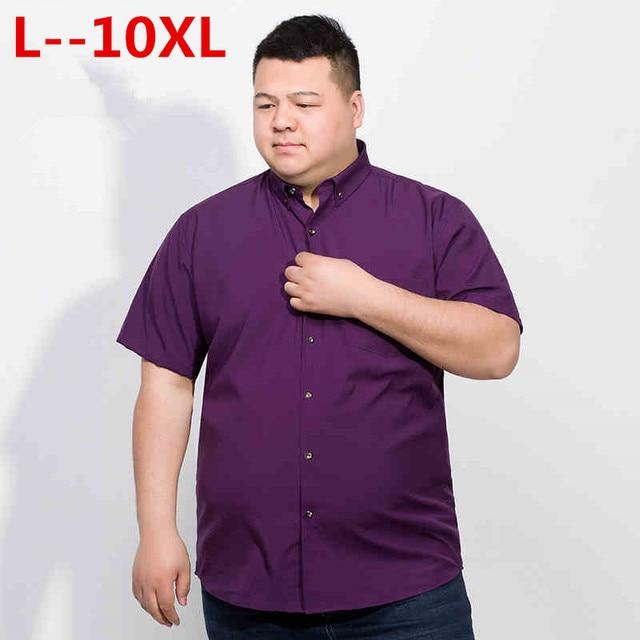 Plus 10XL 8XL 6XL 2018 Cotton Men Short Sleeve Solid Business Working Shirts Casual Shirt Oxford