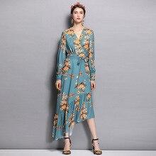 WQJGR 2019 Summer Dress Women  V-Neck Irregular Sexy Printing Long Sleeve Elegant Party