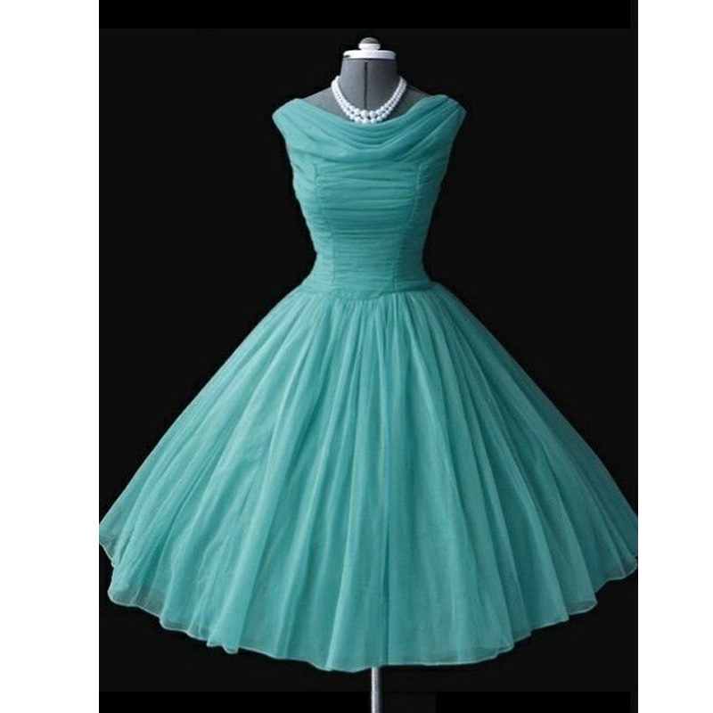 2019 Real Photo Vintage 1950s   Prom     Dresses   Ball Gowns Tea Length   Prom     Dress   Coral Sky Blue Evening Party Gowns vestido de festa