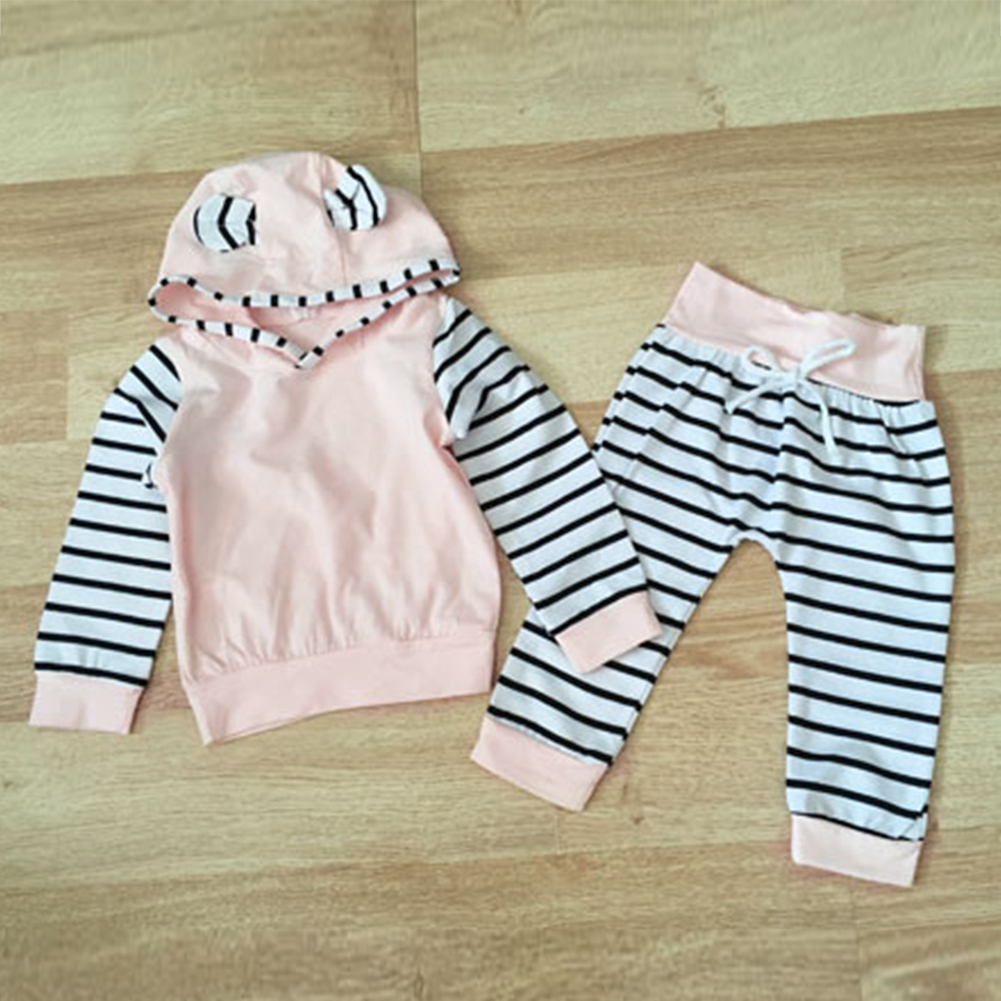2PCS Fashion Autumn Clothes Set For Newborn Baby Girl  Striped Cotton Toddler Hooded Top+Long Pants Casual Outfits