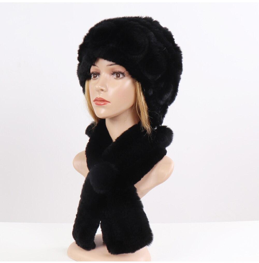 Chapeau foulards femmes mode 100% véritable fourrure