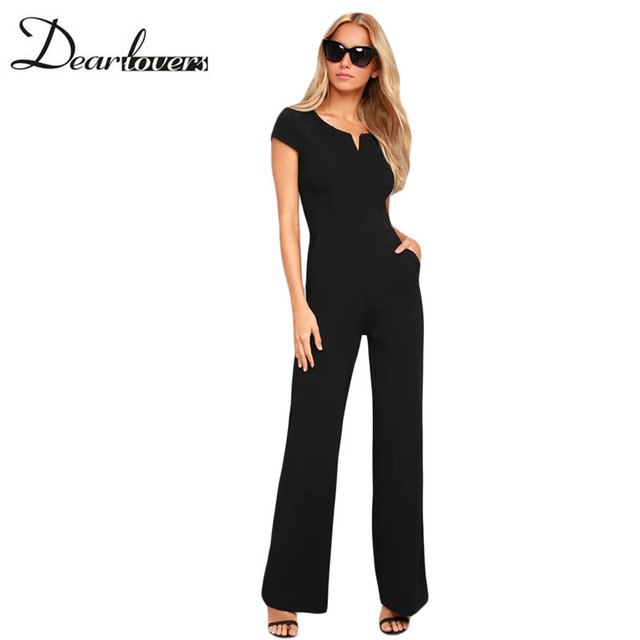 943460aae53 Dear lovers 2018 Summer Black Wide Leg Jumpsuit Women Elegant Sexy Casual  Jumpsuit Long Pants Overalls Formal Jumpsuit