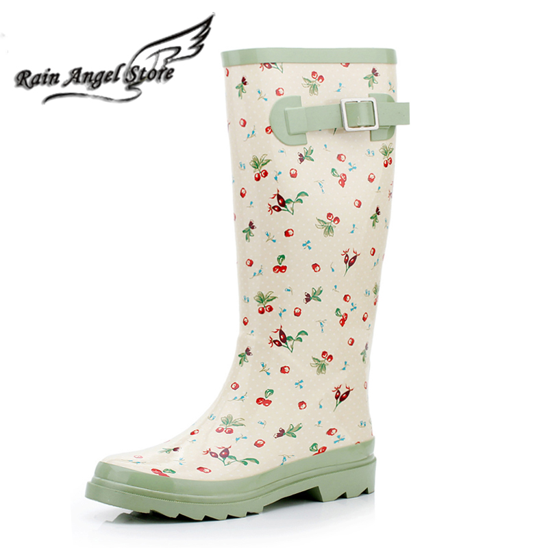 Fashion Women Rubber Rain Boots Floral Cherry Rainboots Boots For ...