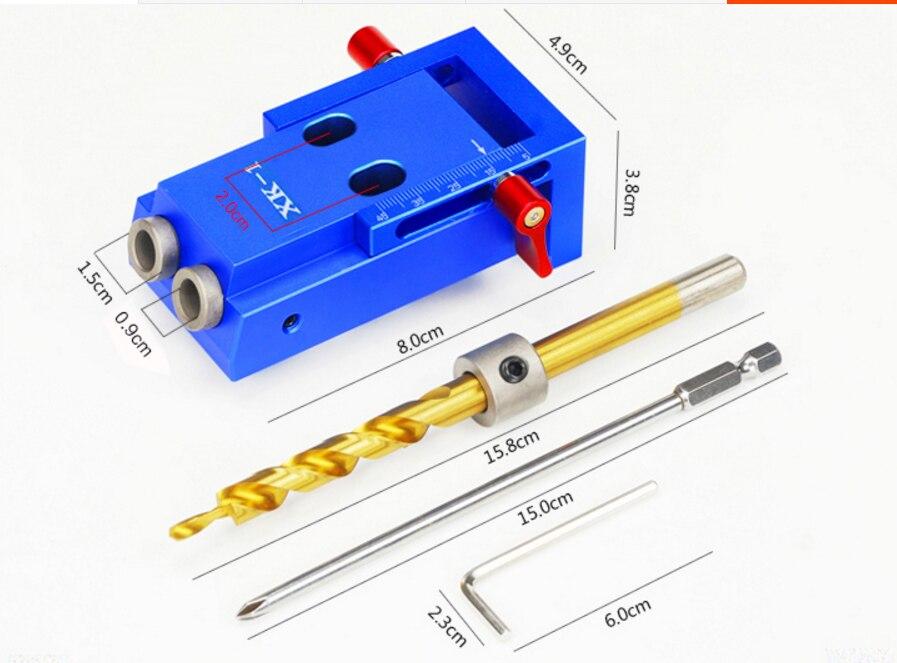 Outil de Travail du bois, En Alliage D'aluminium Mini Poche Gabarit de Kit Système, menuiserie avec 3/8 pouces 9.5mm Étape Foret