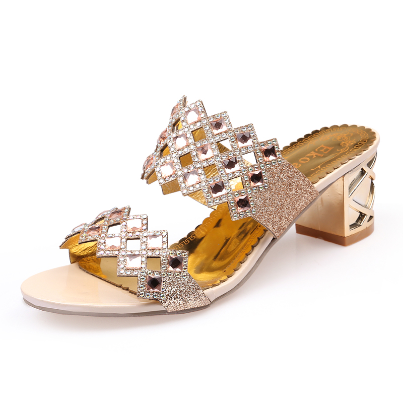 Ekoak 2018 Hot Fashion rhinestone cut-outs party women high heel sandals  ladies summer shoes woman sandals Size 36-41 2a5eee177cf8
