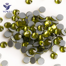YANRUO 2058HF SS20 Olivine 1440Pcs Flat Back Rhinestones Hotfix Iron On Strass Hot Fix Crystal Stone For Clothes yanruo 2058hf ss20 hyacinth 1440pcs glass strass flat back stones and crystals hot fix rhinestones for shoes accessories