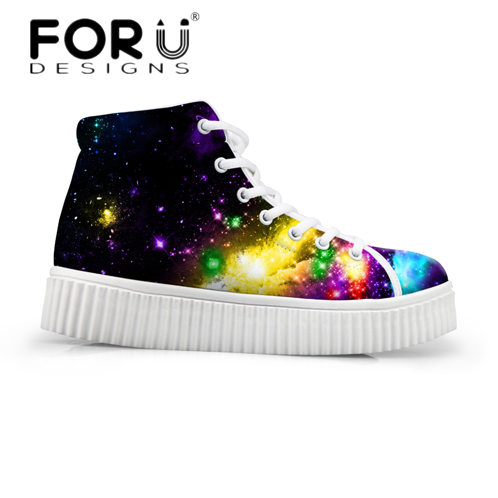 FORUDESIGNS Galaxy Pattern Women High Top Flats Shoes 3D Space Star Pattern Female Height Increasing Shoes for Ladies Platform forudesigns fashion women height increasing flats shoes 3d pretty flower rose printed casual high top shoes for female platform
