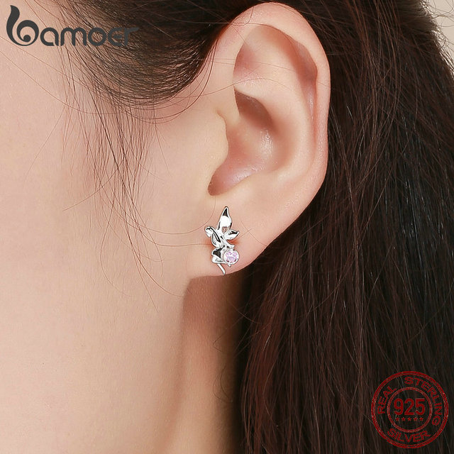 925 Sterling Silver Flower Fairy Pink Stud Earrings for Women 5