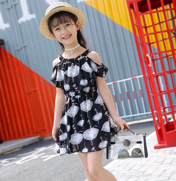 e84a67b84 أطفال فساتين للبنات الصيف قبالة الكتف فساتين الشيفون vestidos ...