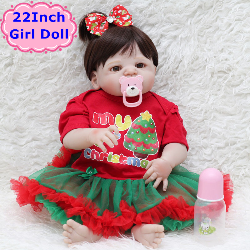 22 Inch Full Silicone Reborn Girl Doll Lifelike Bebe Reborn 57cm Boneca With Christmas Doll Dress Toys For Girls Birthday Gift pink wool coat doll clothes with belt for 18 american girl doll