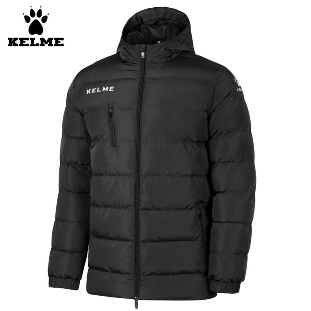 Kelme K15P010 hommes extérieur hiver moyen-long col montant à capuche fermeture éclair doudoune noir