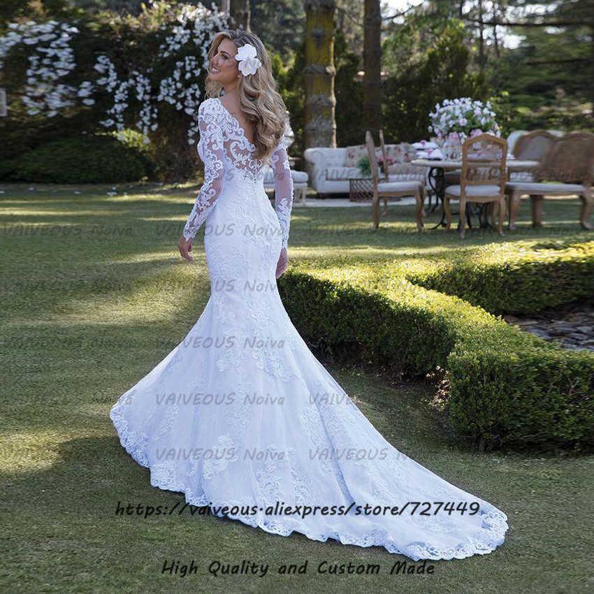 סקסי בת ים ארוך שרוול חתונה שמלת חלוק Mariee יוקרה תחרת חרוזים חתונת שמלת 2019 כלה שמלת תפור לפי מידה Vestido דה Noiva