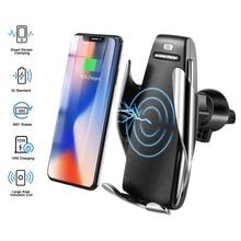 Automática de Aperto Rápido 10W Carro Sem Fio Carregador de Carregamento Suporte Do Telefone 360 Graus Carro de Montagem para IPhone Samsung Tudo Inteligente telefone