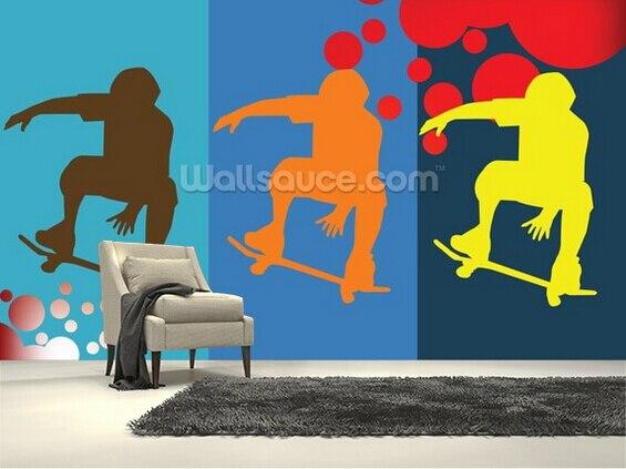 Benutzerdefinierte Moderne Tapete, Skateboarder, 3d Foto Mural Für Restaurant Küche Wohnzimmer Schlafzimmer Hintergrund Wasserdichte Tapete GroßE Sorten