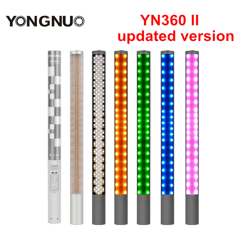 YONGNUO YN360 II Changeable RBG Colorful Handheld Bicolor LED Video Light 3200k 5500k RGB Photo LED Stick yongnuo yn360ii yn360 ii led video light handheld ice stick photo lamp bicolor 3200k 5500k with rgb controlled by phone app