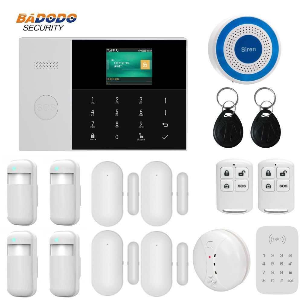 Rede dupla sem fio wifi gsm gprs casa sistema de alarme app controle remoto com 2.4 polegada lcd para segurança em casa inteligente