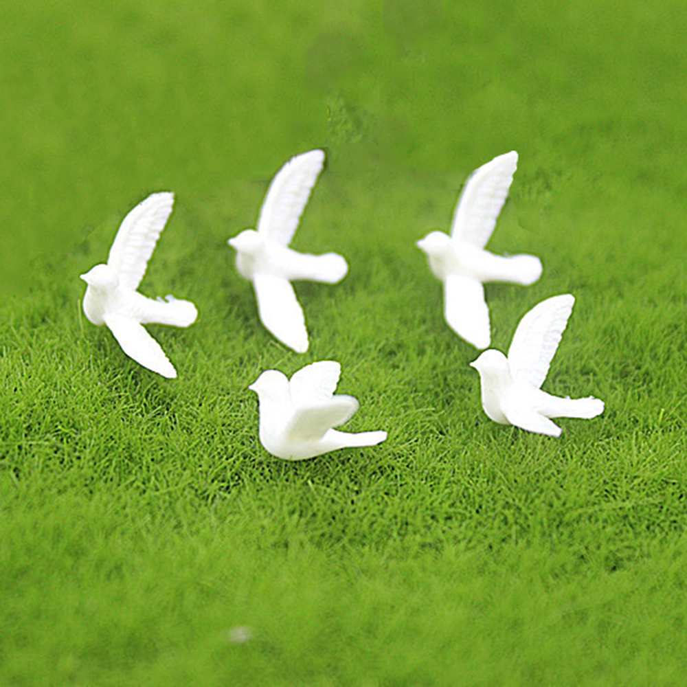 5Pcs 1/12 Dollhouse Miniature Accessories Mini Resin White Dove Simulation Animal Model Toys For Doll House Decoration