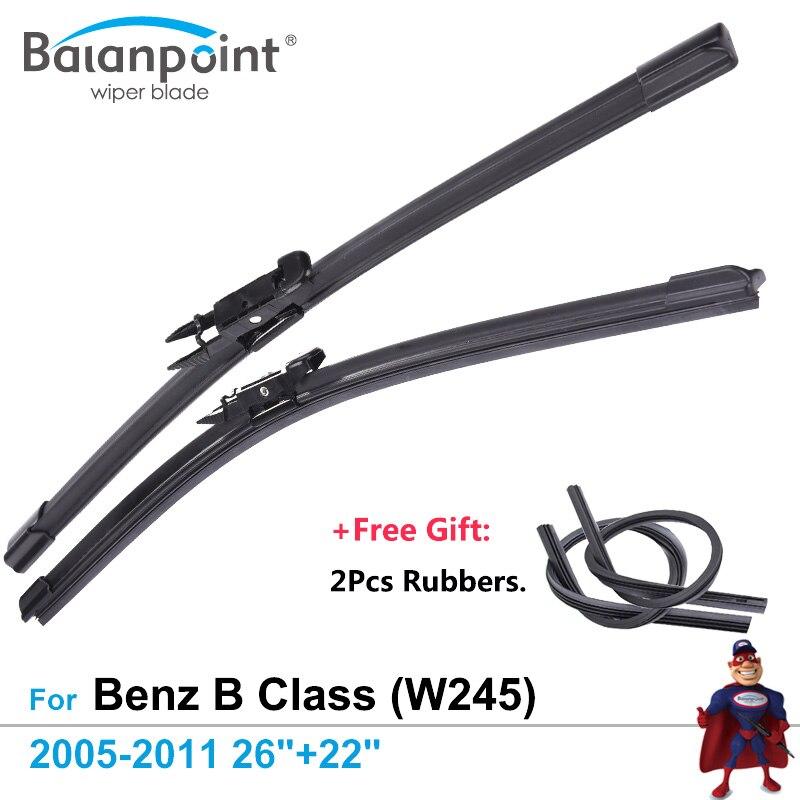 2Pcs Wiper Blades + 2Pcs Free Rubbers For Mercedes Benz B