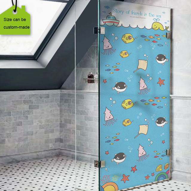 Free Size Privacy Stained Glass Window Film For Bathroom Frosted Surface Static Cling Removable For Kids Room Decorative