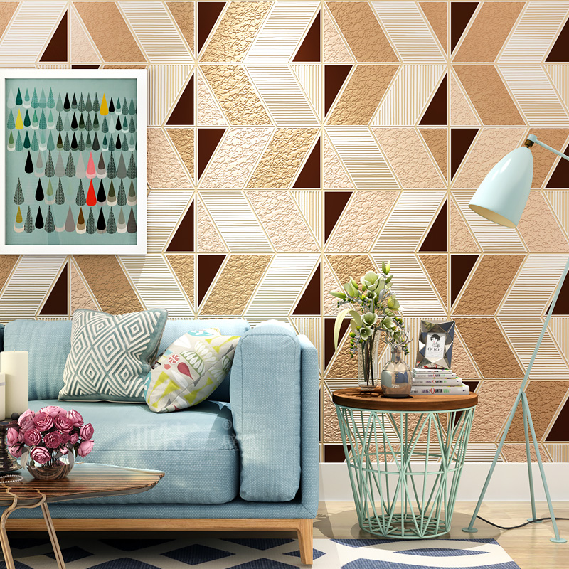 Modern Geometry Pattern Wall Paper Living Room Bedroom Non-woven Suede Velvet 3D Relief TV Background Wall Decoration Wallpaper fashion floral rattan butterflies pattern bedroom decoration wall stickers
