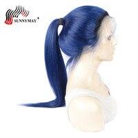 Sunnymay 1b T темно синий полный Кружево Человеческие волосы Искусственные парики прямо ombre бразильский Virign волос Кружево Искусственные парики п