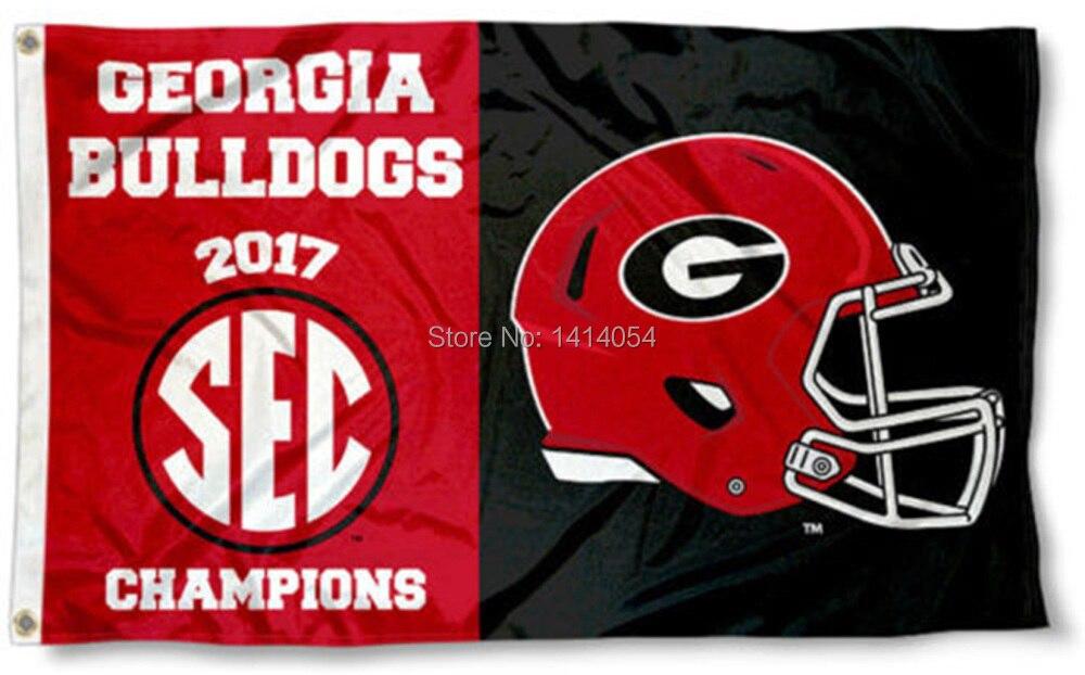 Campioni Bandiera NCAA Georgia Bulldogs 2017 SEC occhielli 3X5FT Banner 100D Poliestere bandiera personalizzata, trasporto libero