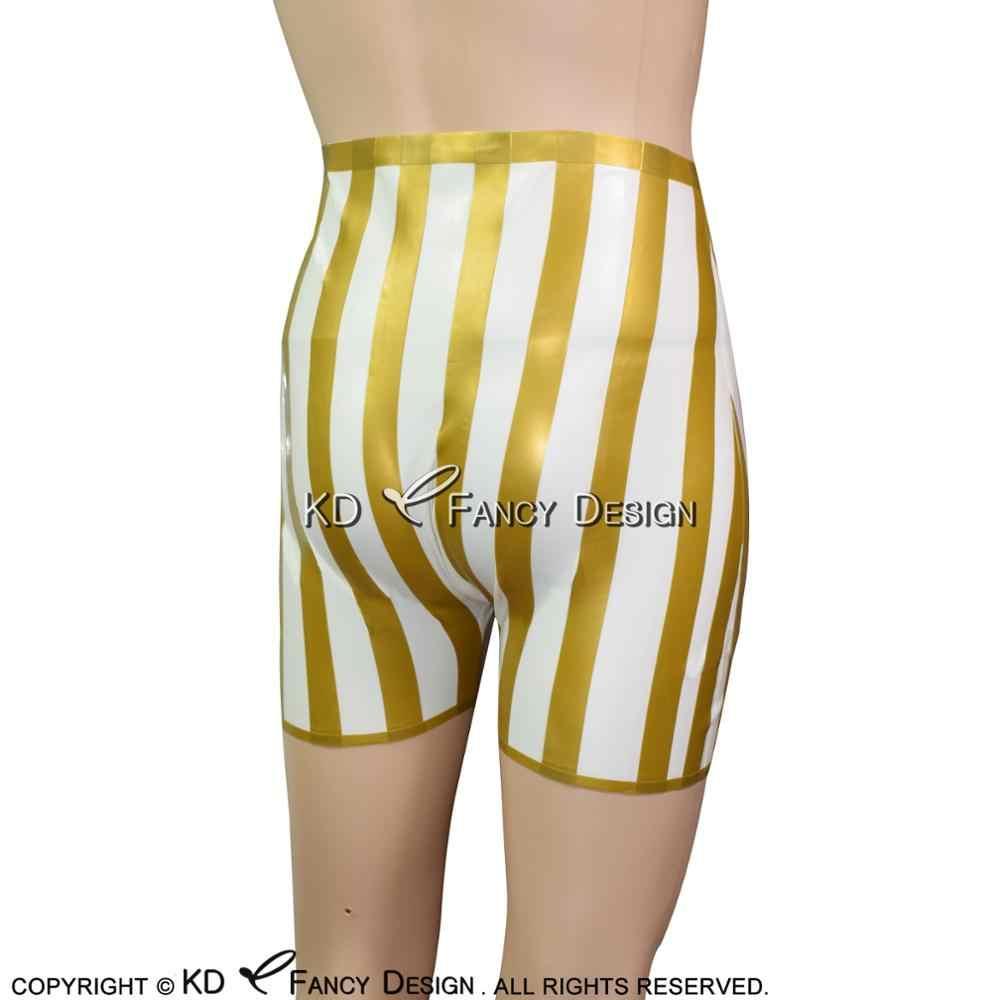 Beyaz altın trimler seksi lateks Boxer kısa yaylar ve çizgili kauçuk iç çamaşırını külot DK-0086