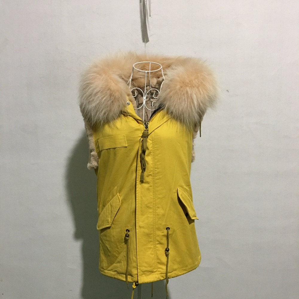 Yellow Faux Fur Vest Ladies Winter Casual Wear With Raccoon Collar Short Length Beige Color Fur Lined Wear