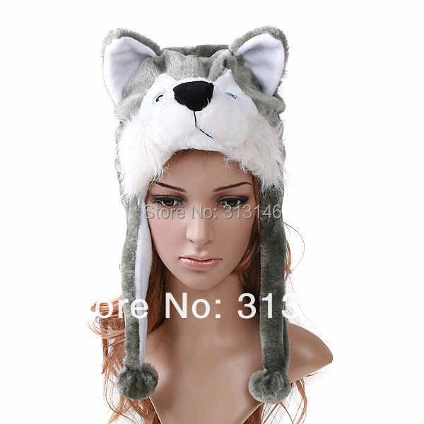 78f1a71848a Detail Feedback Questions about Plush Animal Husky Wolf Cartoon Earmuff  Fuzzy Beanie Hat Winter Adult Women Men s Children Kids Costume Warm Fluffy  Cosplay ...