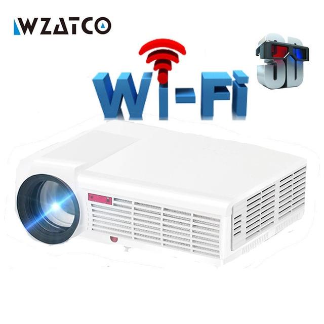 WZATCO 5500Lumen Android Smart Wifi 1080P Full HD LED LCD 3D Video DVBT TV Projector portable Multimedia Home cinema Beamer