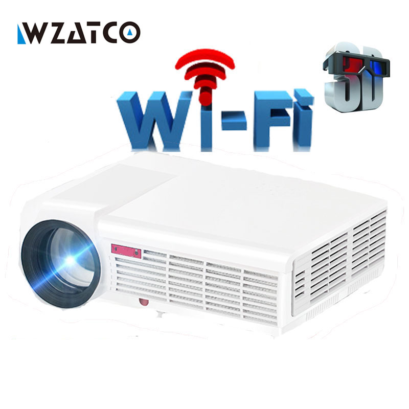 WZATCO LED96W moon led Projector 5500Lumen Android Smart Wifi LCD 3D full HD 1080P Home theater Cinema Beamer video Proyector