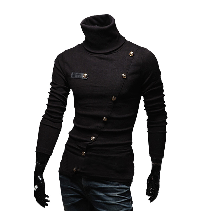 Idopy Men's Autumn Spring Turtle Neck Personality Sweater Coat Casual O Neck Street Style Slim Fit Buttons Pullover For Male