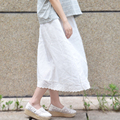 Early spring summer cotton lace ladies skirt white natural knee length vintage style bottom cotton pastoral bottom skirt