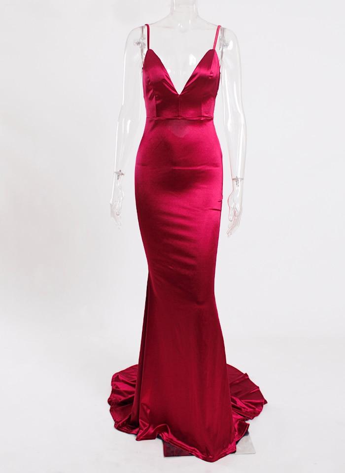 Deep V-Neck Burgundy Satin Mermaid Open Back Long Evening Dress 32
