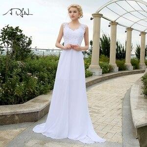 Image 1 - ADLN Barato Praia Vestidos de Casamento com Apliques Com Decote Em V Vestidos de Chiffon Para O Casamento Branco/Marfim Plus Size Vestidos de Noiva