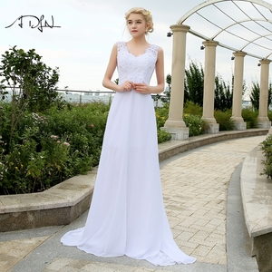Image 1 - ADLN Cheap Beach Wedding Dresses with Appliques V neck Chiffon Dresses For Wedding White/Ivory Plus Size Bridal Gowns