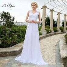 ADLN 格安ビーチウェディングドレスとアップリケ V ネックシフォンドレス結婚式のためのホワイト/アイボリープラスサイズブライダルガウン