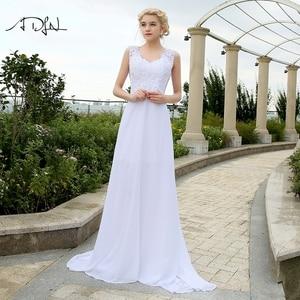 Image 1 - Adln 비치 웨딩 드레스 V 넥 쉬폰 드레스 웨딩 화이트/아이보리 플러스 크기 신부 가운