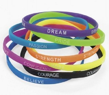 Customized 100pcs Mini Silicone Wristband Printed Logo 6mm Width Thin Inspirational Sayings Bracelets Wristbands Promotion Gifts