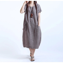 6XL Oversize Chinese Style Women's Dress Female Ladies Casual Loose Mid-Calf Linen Dress With Pockets Plus Size AQ906635