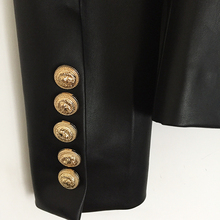 Lion Metal Buttons Double Breasted Synthetic Leather Blazer