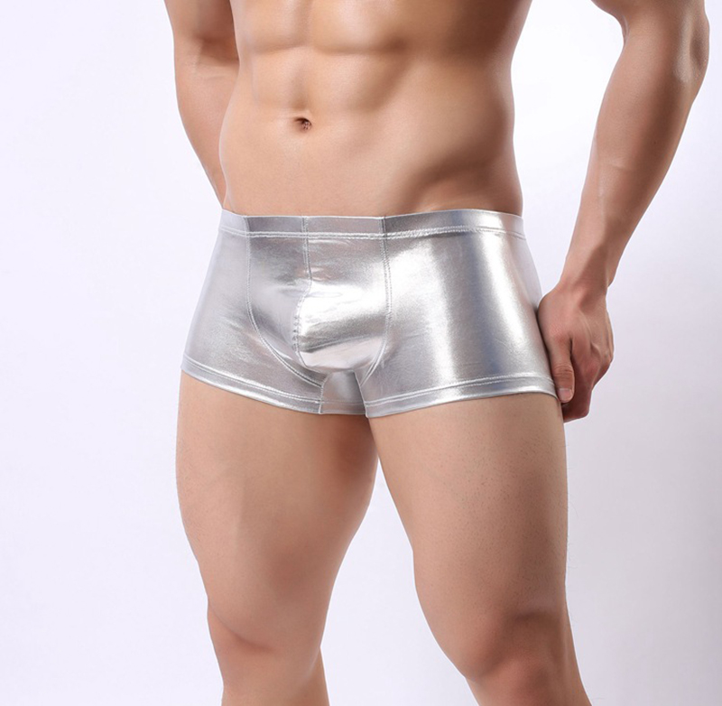 Black/Silver Golden New Boxer Men Sexy Underwear Faux Leather Boxers Shorts Elastic Undershorts Erotic Panties Underpants
