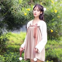 Girl Costume Hanfu  Bear jacket skirt improved Chinese chest elements daily long sleeved autumn cotton sexy summer