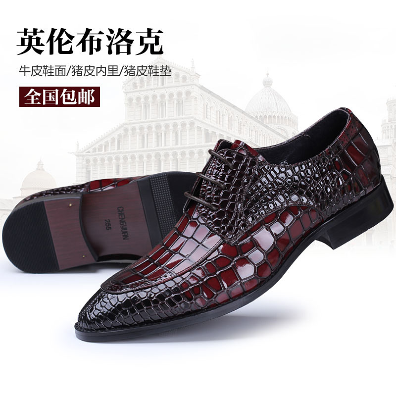men luxury famous Italy handmade genuine leather shoes men's brogue dress fashion crocodile style point toe oxford shoe bullock eu38 44 black brown color fashion style men s shoes genuine leather handmade round toe dress wedding brogue oxfored shoes
