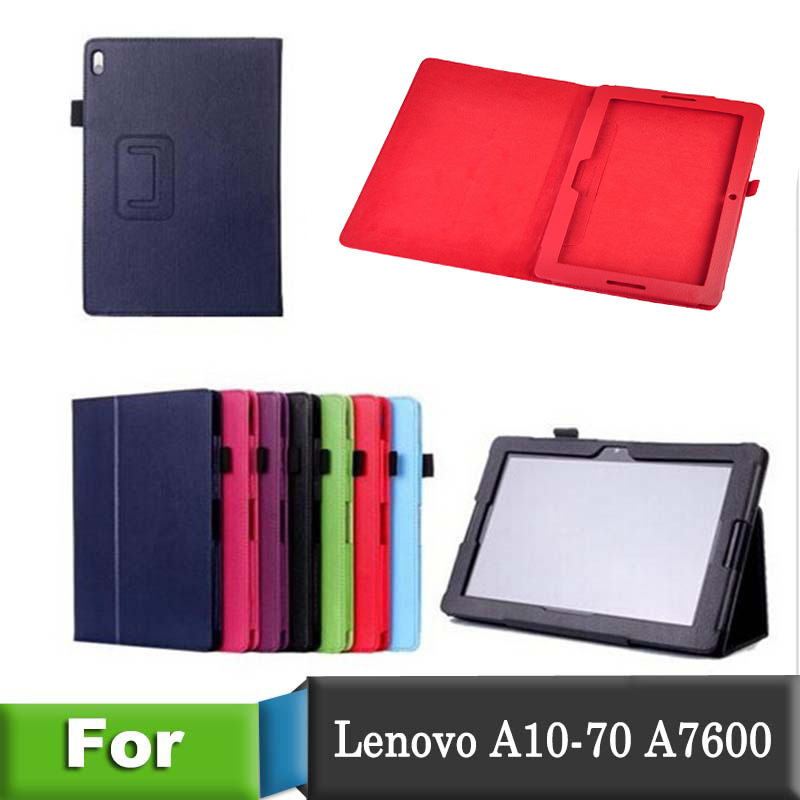 Hot Sale Fashion PU Lichee Grain Leather Case Cover for Lenovo A7600 A10-70 Case Solid Color Covers for Lenovo Tablet 10 PC hot fashion pu leather cover case for lenovo ideatab 10 1 a10 70 a7600 a7600 h a7600 f tablet magnet cover free shippin stylus